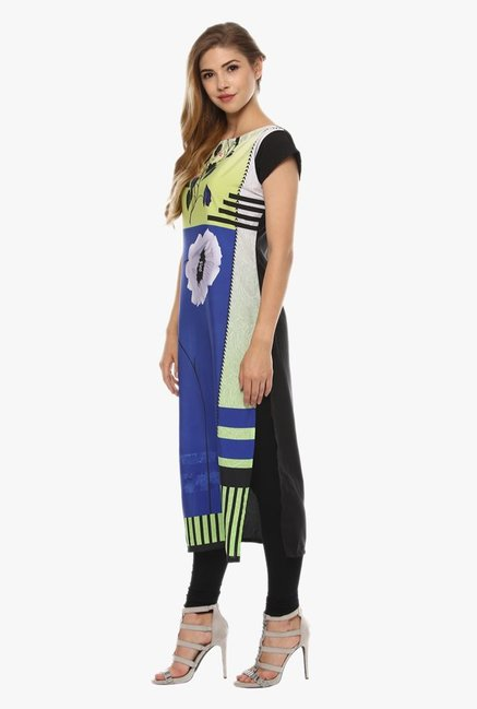 Ziyaa Blue & Green Printed Kurta