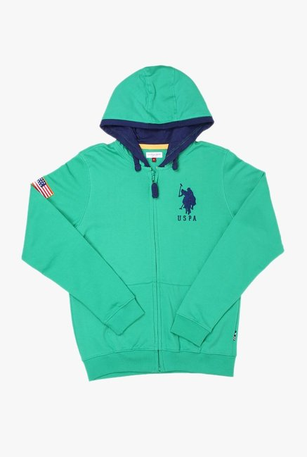 96f47cbe26a1a Buy US Polo Green Solid Hoodie for Boys Clothing Online   Tata CLiQ