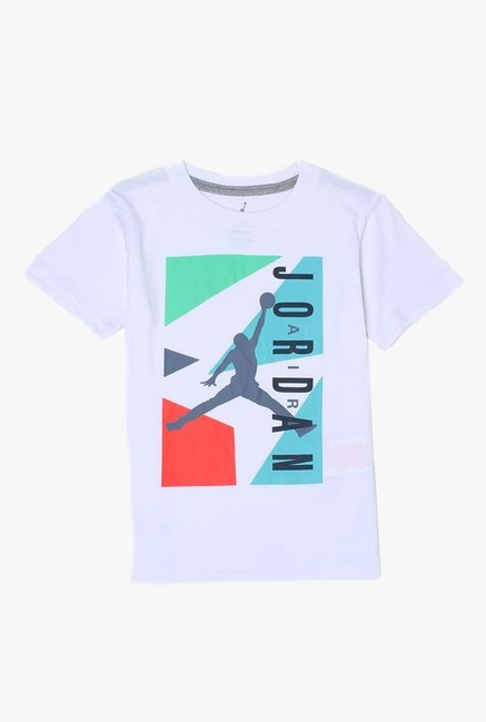 8b8e0eb649221e Buy Jordan White Printed T-Shirt for Boys Clothing Online   Tata CLiQ