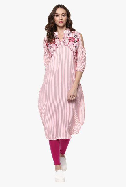 Ziyaa Pink Striped Kurta