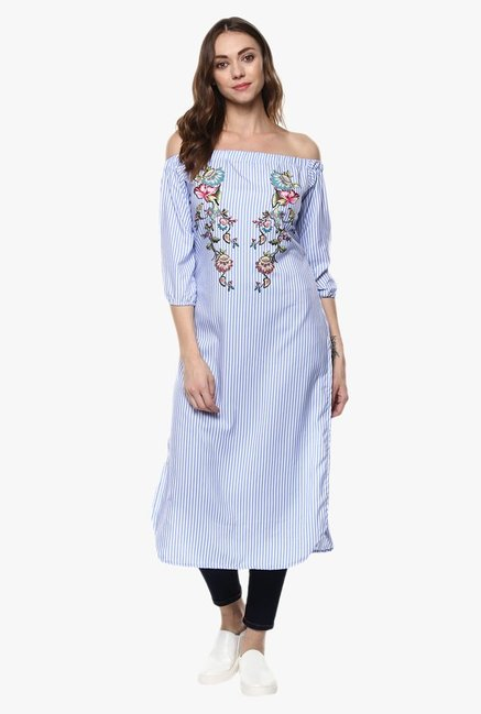 Ziyaa Blue Striped Kurta