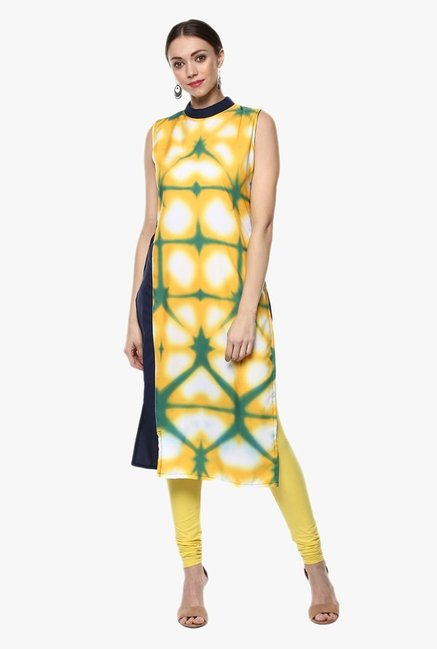 Ziyaa Yellow Printed Kurta
