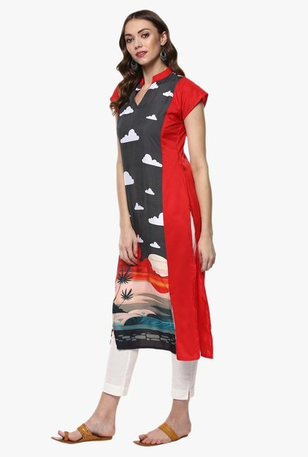 Ziyaa Red & Grey Printed Kurta