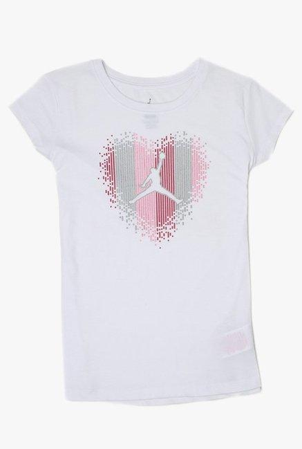 89434b2363bce0 Buy Jordan White Printed T-Shirt for Girls Clothing Online   Tata CLiQ