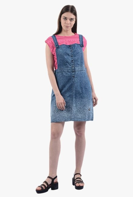 5d290d9d51 Buy Pepe Jeans Blue Printed Above Knee Dungaree Dress for ...