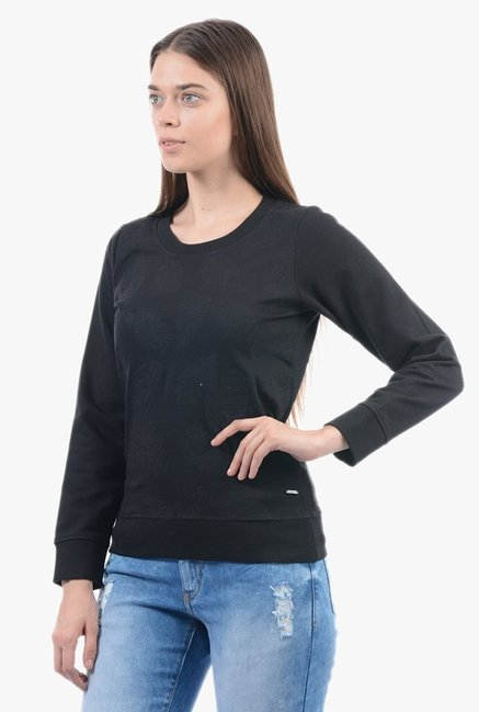 Pepe Jeans Black Self Print Sweatshirt