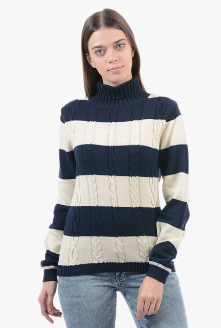 Pepe Jeans Navy & Beige Crochet Sweater