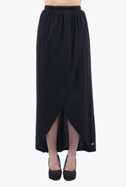 Buy Pepe Jeans Black Textured Below Knee Skirt for Women Online ... 5a0aa99ef