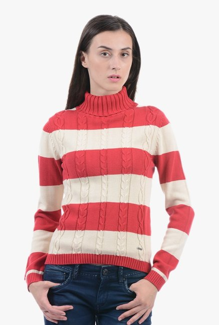 Pepe Jeans Beige & Red Crochet Sweater