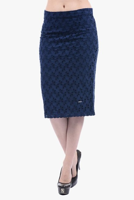 Buy Pepe Jeans Navy Embroidered Skirt for Women Online   Tata ... 936625345