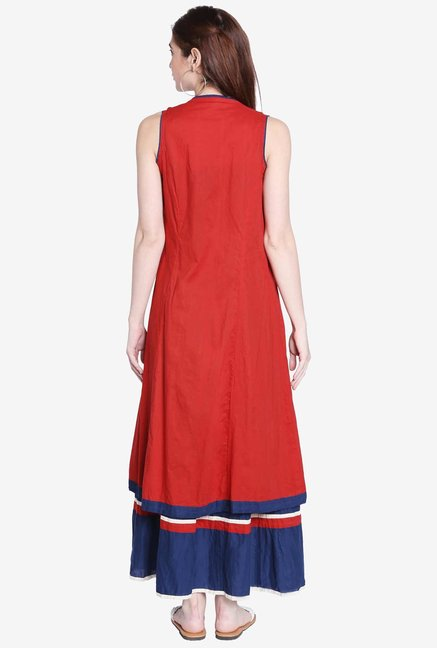Globus Blue Embroidered Kurta With Shrug