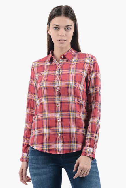 46f3c2ca28 Buy Pepe Jeans Red Checks Shirt for Women Online   Tata CLiQ