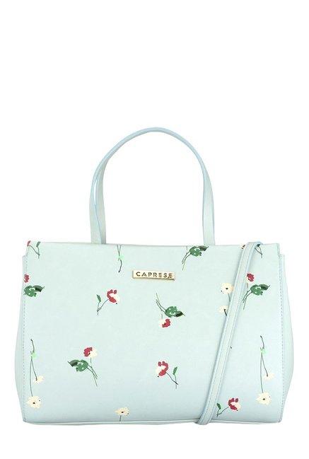 Caprese Flowerbud Sky Blue Printed Handbag