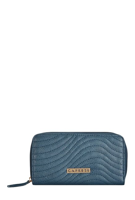 Caprese Austen Teal Blue Stitched Wallet