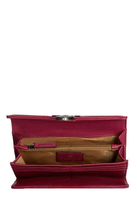 Caprese Miles Berry Red Solid Tri-Fold Wallet