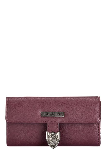 Caprese Miles Burgundy Solid Tri-Fold Wallet