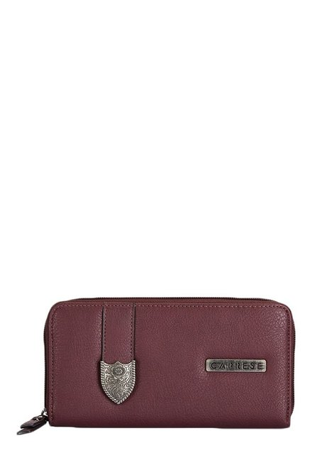 Caprese Miles Burgundy Solid Wallet