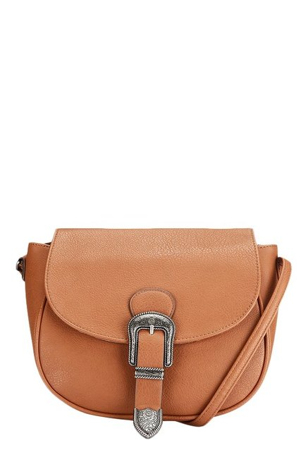 Caprese Miles Tan Solid Saddle Sling Bag