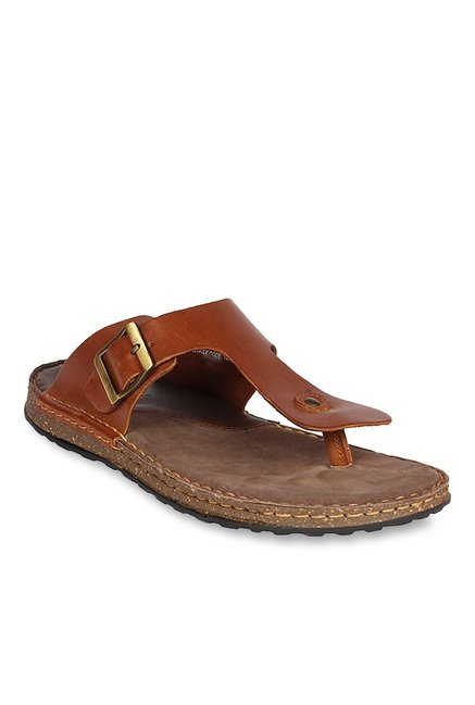 509f9d018680 Buy Ruosh Tan T-Strap Sandals for Men at Best Price   Tata CLiQ