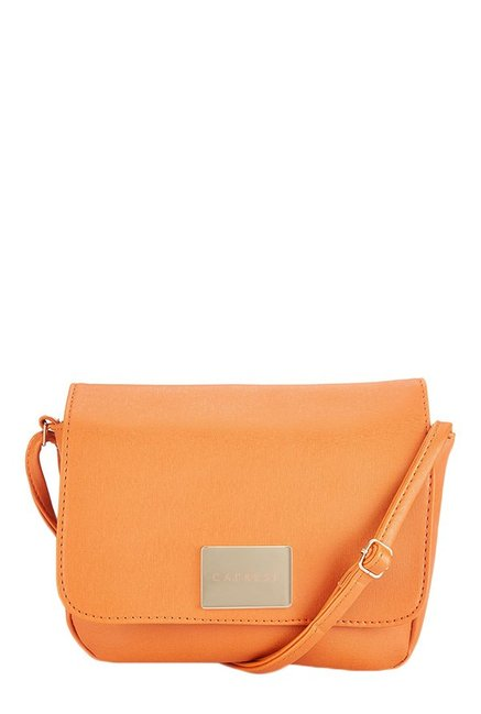 Caprese Lindsay Orange Solid Flap Sling Bag