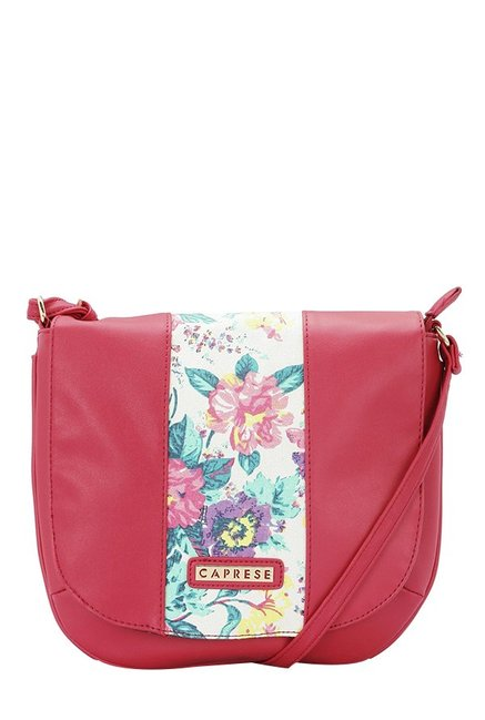 Caprese Lorita Red & White Floral Flap Sling Bag