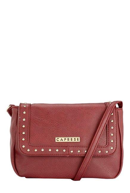 Caprese Austen Red Riveted Flap Sling Bag