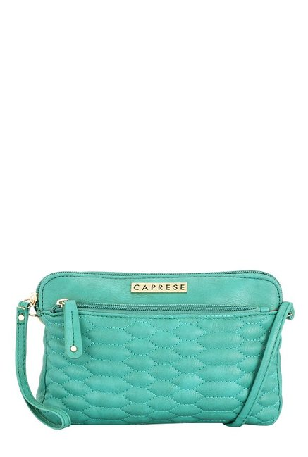 Caprese Phoenix Emerald Green Stitched Quilted Sling Bag