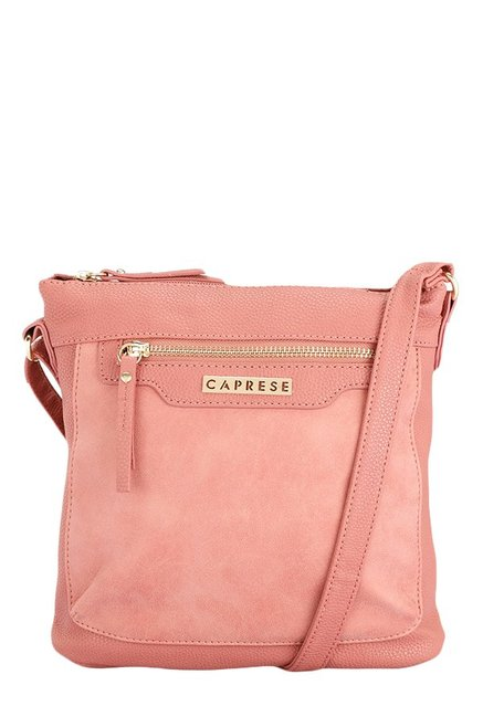 Caprese Austen Coral Pink Distressed Sling Bag