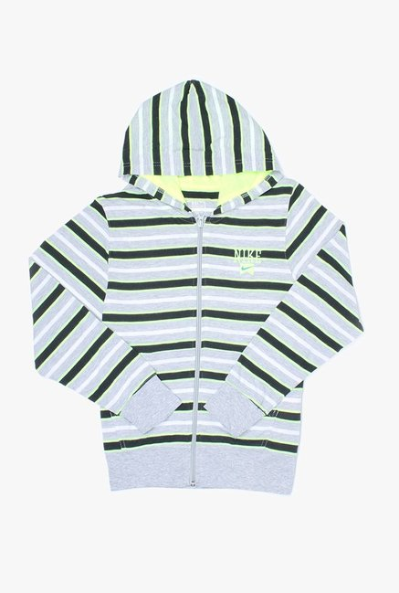 Nike Kids Grey Striped Hoodie