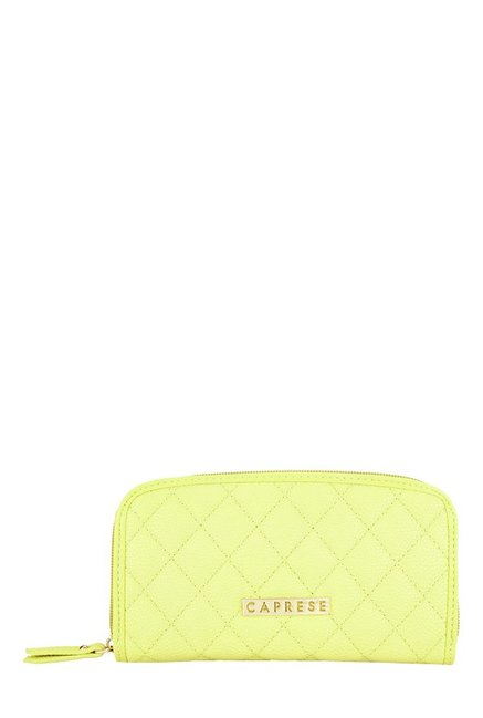 Caprese Andra Lime Yellow Stitched Wallet