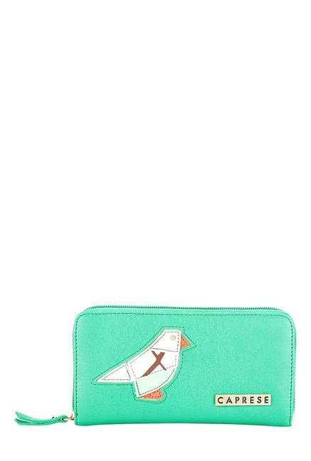 Caprese Birdie Aqua Green Applique Wallet