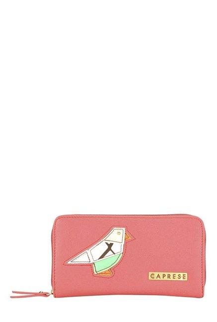 Caprese Birdie Coral Pink Applique Wallet