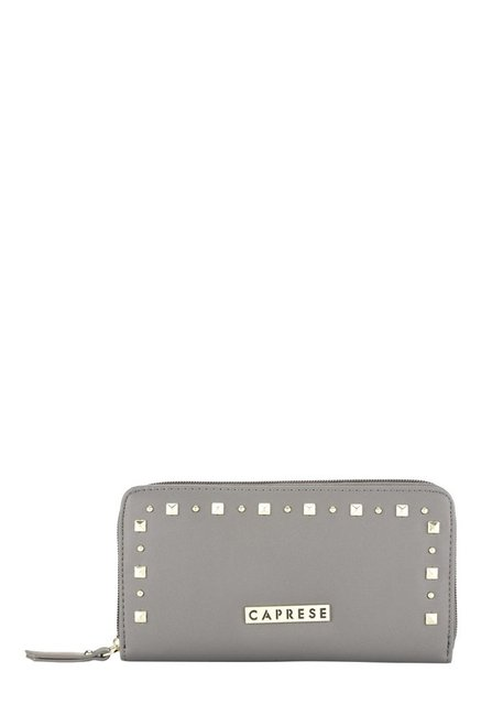 Caprese Sue Dark Grey Riveted Wallet