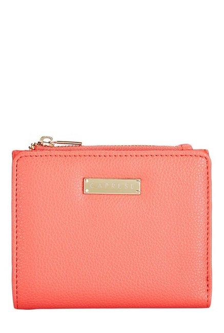 Caprese Angelina Coral Pink Solid Bi-Fold Wallet