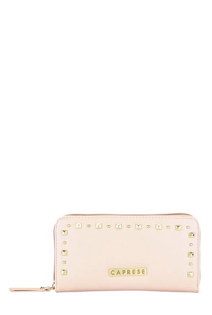 Caprese Sue Soft Pink Riveted Wallet