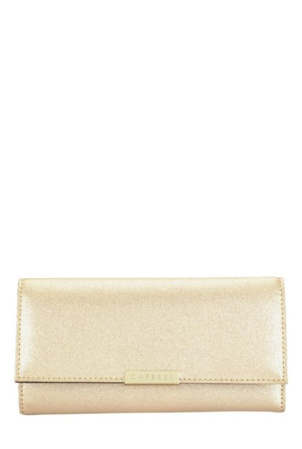 Caprese London Golden Solid Tri-Fold Wallet