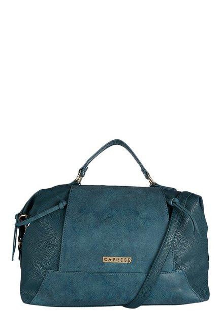 Caprese Andra Teal Blue Distressed Duffle Handbag