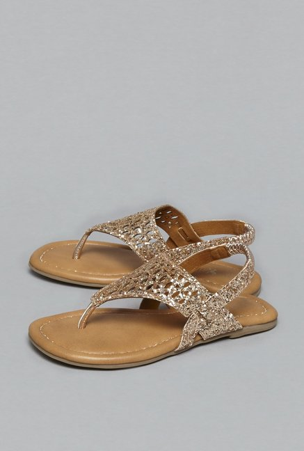 b6299664590f84 Buy Yellow by Westside Rose Gold Sandals For Kids Online At Tata CLiQ
