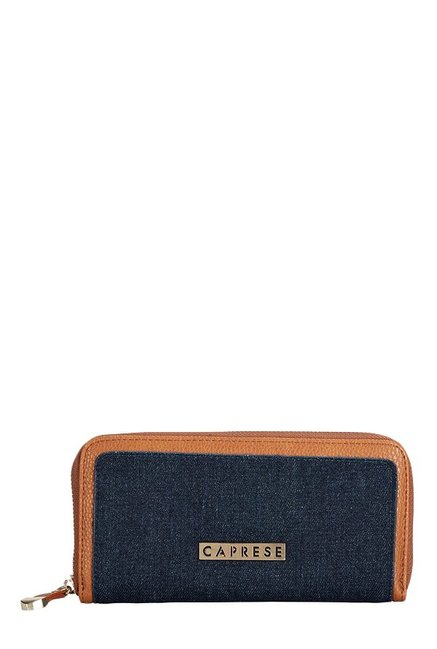 Caprese Denise Tan & Denim Blue Embellished Wallet