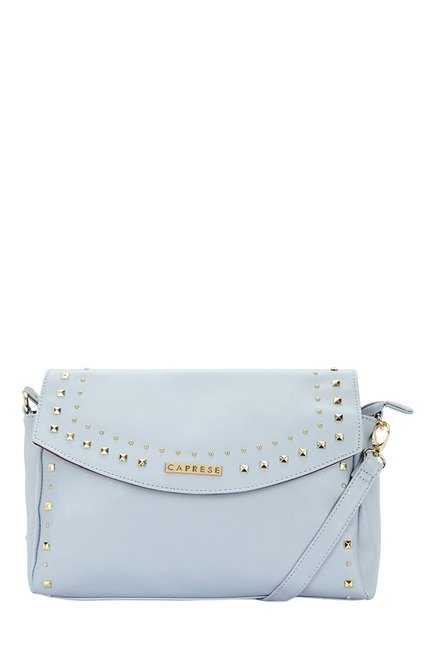 Caprese Sue Pale Blue Riveted Flap Sling Bag