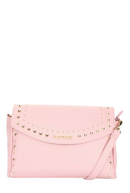 Caprese Sue Seashell Pink Riveted Flap Sling Bag