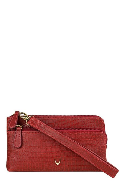 Hidesign SB Paola W1 Red Textured Leather Wristlet