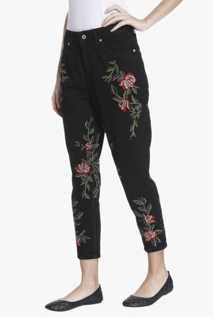 Only Black Slim Fit Embroidered Jeans