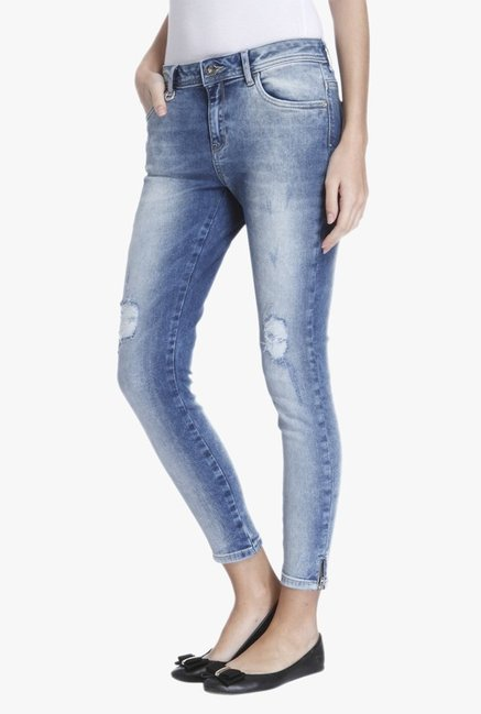 Only Light Blue Slim Fit Tattered Jeans