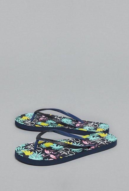 c3ce37b5c65455 Buy LUNA BLU by Westside Navy Glitter Flip-Flops For Women Online At Tata  CLiQ
