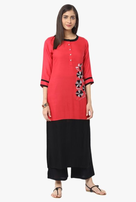 Jaipur Kurti Red & Black Embroidered Kurta With Palazzo