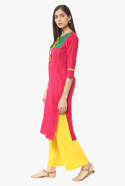 Jaipur Kurti Pink & Yellow Printed Cotton Kurta With Palazzo