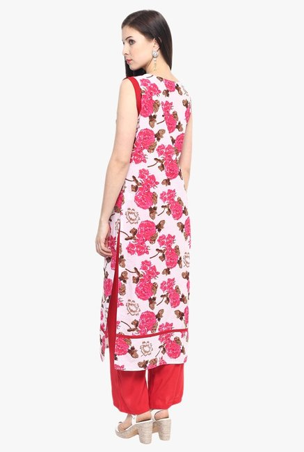 Jaipur Kurti White & Red Cotton Kurta With Palazzo