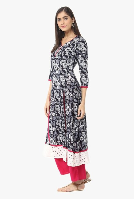 Jaipur Kurti Black & Pink Printed Cotton Kurta With Palazzo