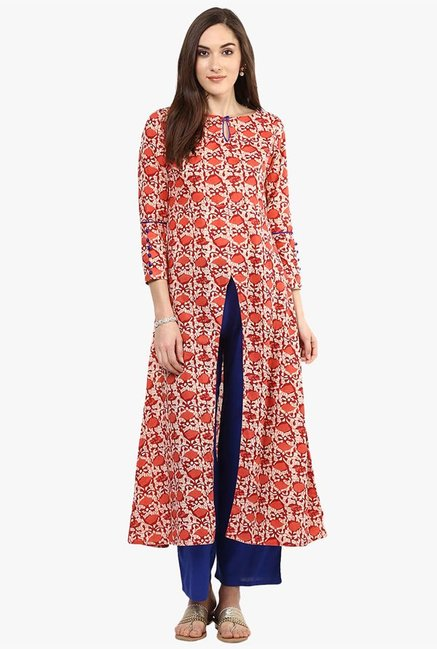 Jaipur Kurti Coral & Blue Printed Cotton Kurta With Palazzo